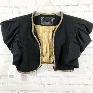 Twelve by Twelve black/ gold cropped jacket sz XS